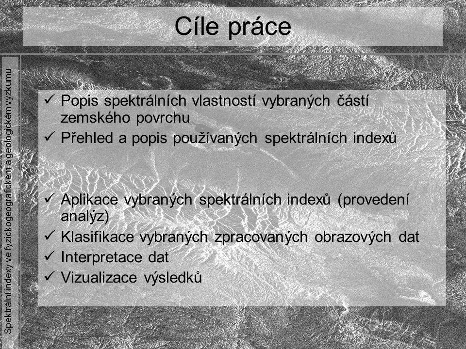 Spektrální indexy ve fyzickogeografickém a geologickém výzkumu Spektrální indexy = způsob spektrálního zvýraznění distančních dat = skupina aritmetických operací se dvěma či více spektrálními pásmy Cílem je na základě znalosti spektrálního chování jednotlivých složek povrchu zvýraznit jeho zkoumanou část Aplikační oblasti =>>>> zkoumání vegetace =>>>> mineralogie a petrografie