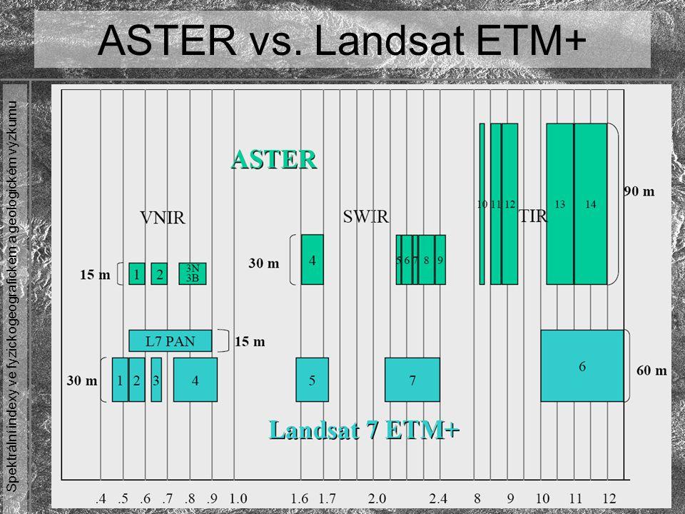 Spektrální indexy ve fyzickogeografickém a geologickém výzkumu ASTER vs. Landsat ETM+
