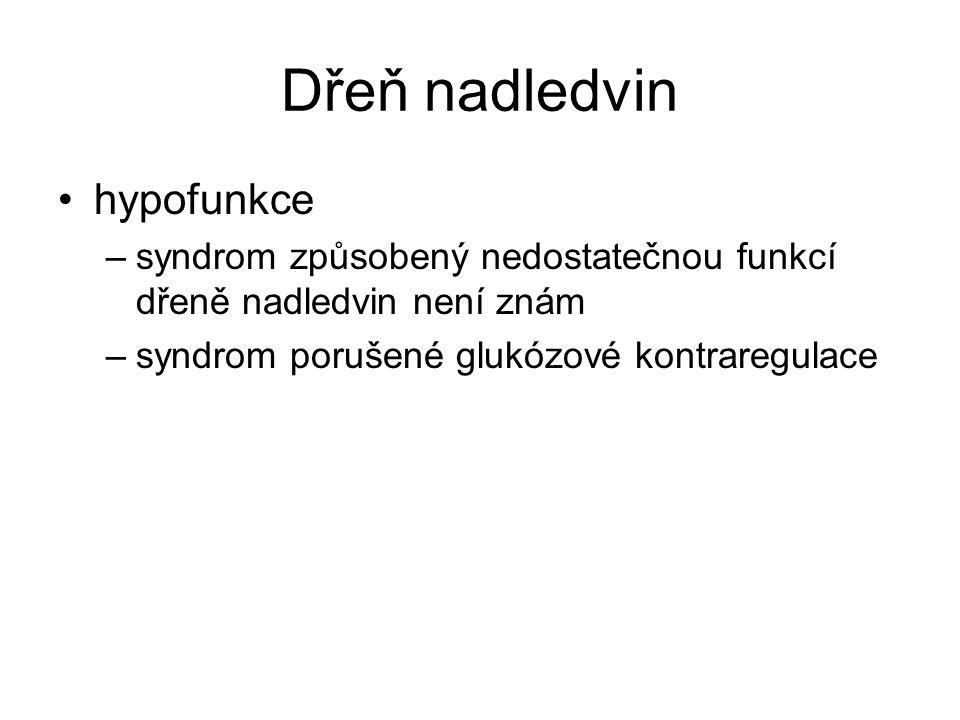 Dřeň nadledvin hypofunkce –syndrom způsobený nedostatečnou funkcí dřeně nadledvin není znám –syndrom porušené glukózové kontraregulace
