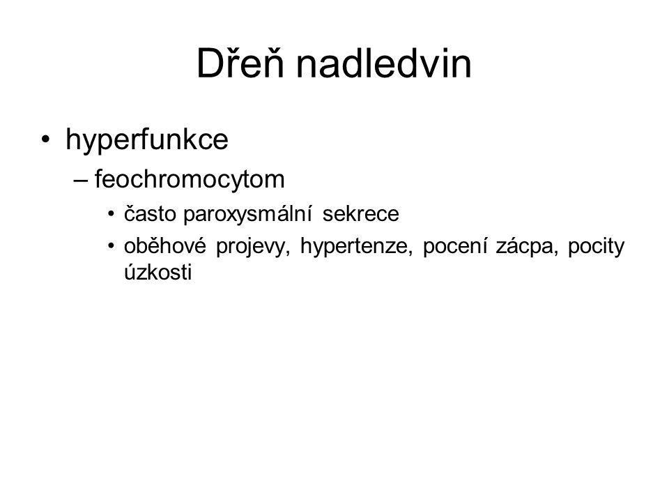 Dřeň nadledvin hyperfunkce –feochromocytom často paroxysmální sekrece oběhové projevy, hypertenze, pocení zácpa, pocity úzkosti