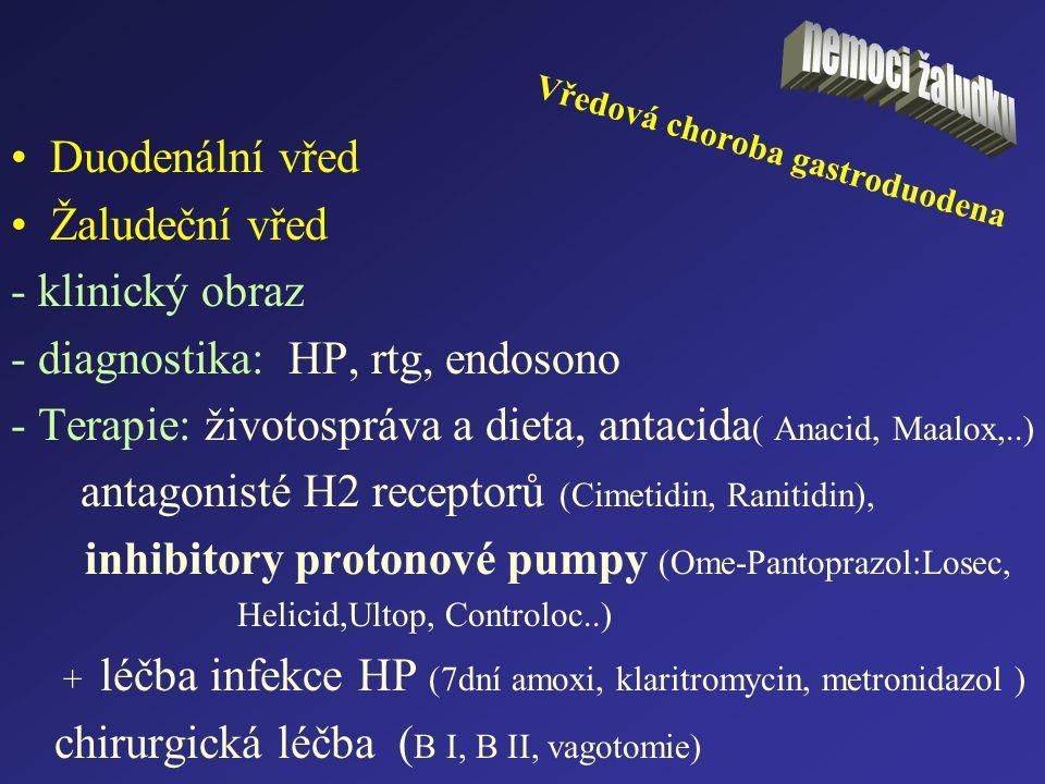 Vředová choroba gastroduodena Duodenální vřed Žaludeční vřed - klinický obraz - diagnostika: HP, rtg, endosono - Terapie: životospráva a dieta, antaci