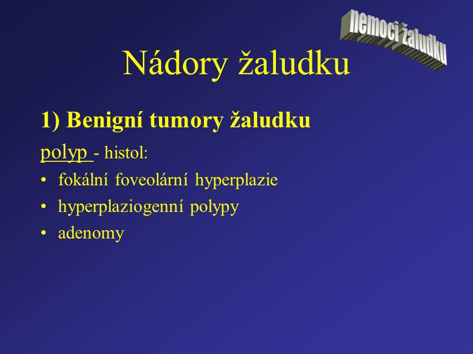 Nádory žaludku 1) Benigní tumory žaludku polyp - histol: fokální foveolární hyperplazie hyperplaziogenní polypy adenomy