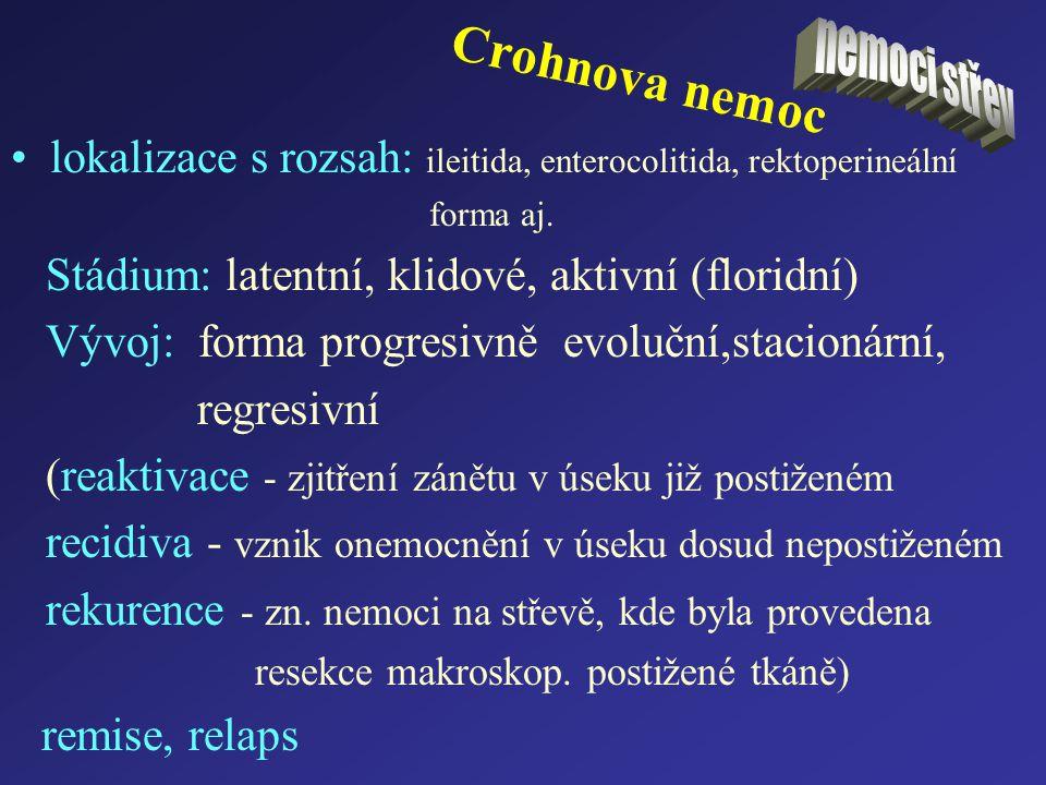 Crohnova nemoc lokalizace s rozsah: ileitida, enterocolitida, rektoperineální forma aj. Stádium: latentní, klidové, aktivní (floridní) Vývoj: forma pr