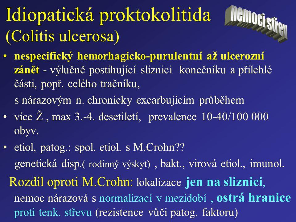 Idiopatická proktokolitida (Colitis ulcerosa) nespecifický hemorhagicko-purulentní až ulcerozní zánět - výlučně postihující sliznici konečníku a přile