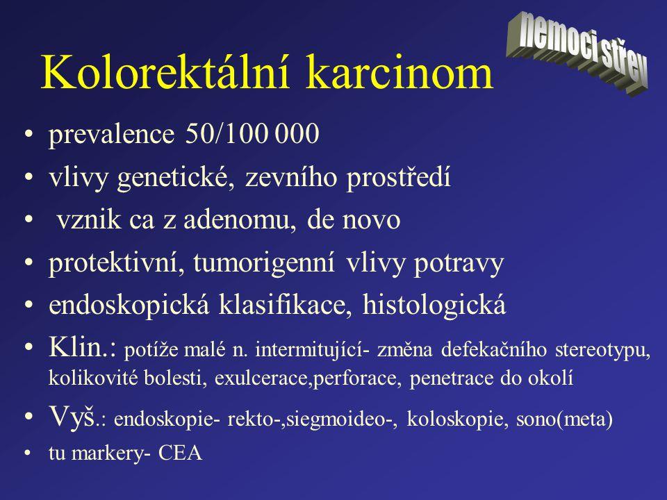 Kolorektální karcinom prevalence 50/100 000 vlivy genetické, zevního prostředí vznik ca z adenomu, de novo protektivní, tumorigenní vlivy potravy endo