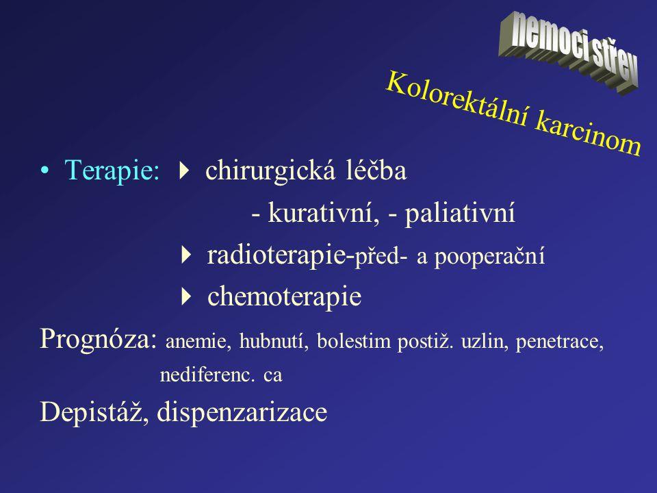 Kolorektální karcinom Terapie:  chirurgická léčba - kurativní, - paliativní  radioterapie- před- a pooperační  chemoterapie Prognóza: anemie, hubnu