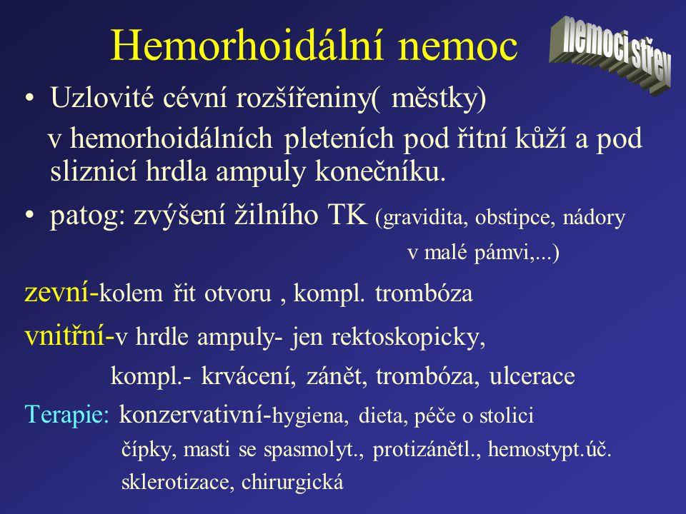 Hemorhoidální nemoc Uzlovité cévní rozšířeniny( městky) v hemorhoidálních pleteních pod řitní kůží a pod sliznicí hrdla ampuly konečníku. patog: zvýše