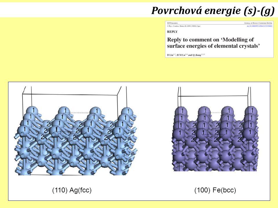 15.12.2011J. Leitner - Ústav inženýrství pevných látek, VŠCHT Praha 31 Povrchová energie (s)-(g) (110) Ag(fcc)(100) Fe(bcc)