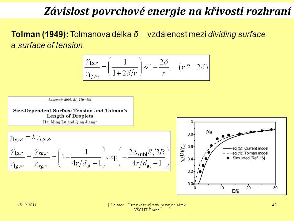 15.12.2011J. Leitner - Ústav inženýrství pevných látek, VŠCHT Praha 47 Závislost povrchové energie na křivosti rozhraní Tolman (1949): Tolmanova délka