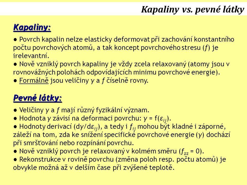 Kapaliny vs. pevné látky Kapaliny: ● Povrch kapalin nelze elasticky deformovat při zachování konstantního počtu povrchových atomů, a tak koncept povrc