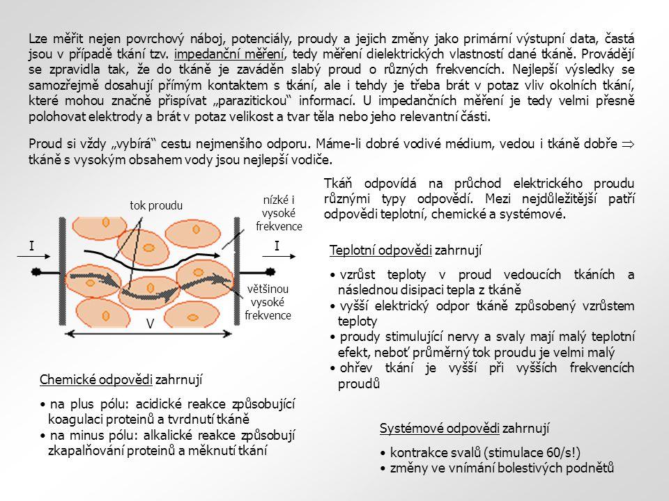 II V tok proudu nízké i vysoké frekvence většinou vysoké frekvence Lze měřit nejen povrchový náboj, potenciály, proudy a jejich změny jako primární výstupní data, častá jsou v případě tkání tzv.