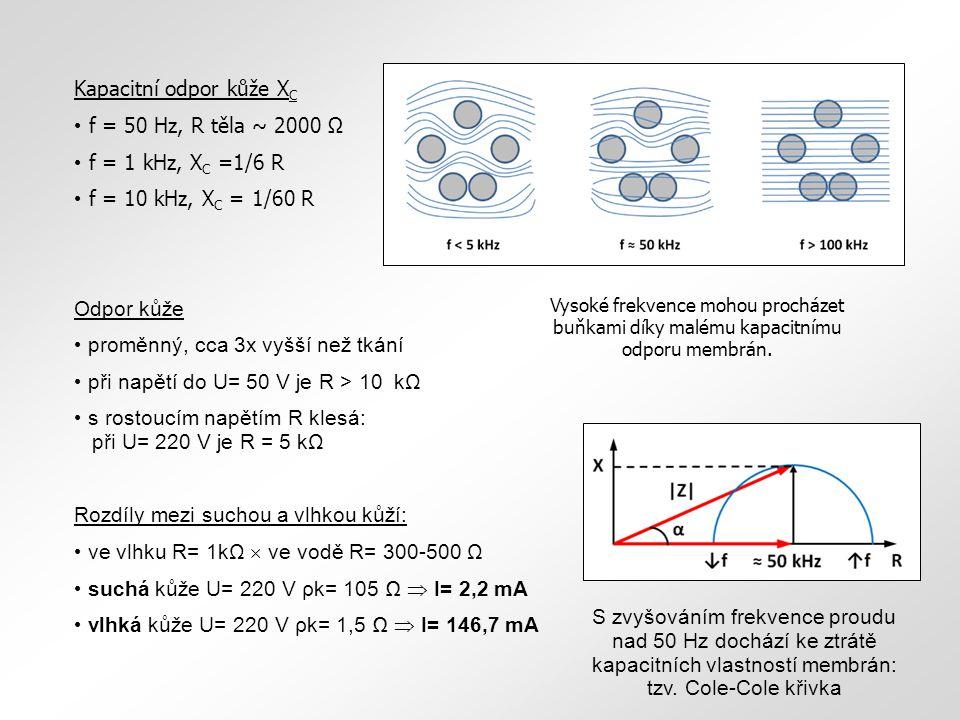 kapacitní odpor kůžeX C f= 50 Hz,(R těla ~2000Ω). f= 1 kHz,X C = f= 10 kHz,XC= 1 6 R 1 60 Kapacitní odpor kůže X C f = 50 Hz, R těla ~ 2000 Ω f = 1 kH
