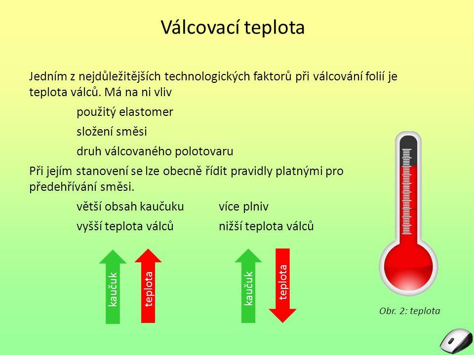 Válcovací teplota Jedním z nejdůležitějších technologických faktorů při válcování folií je teplota válců. Má na ni vliv použitý elastomer složení směs