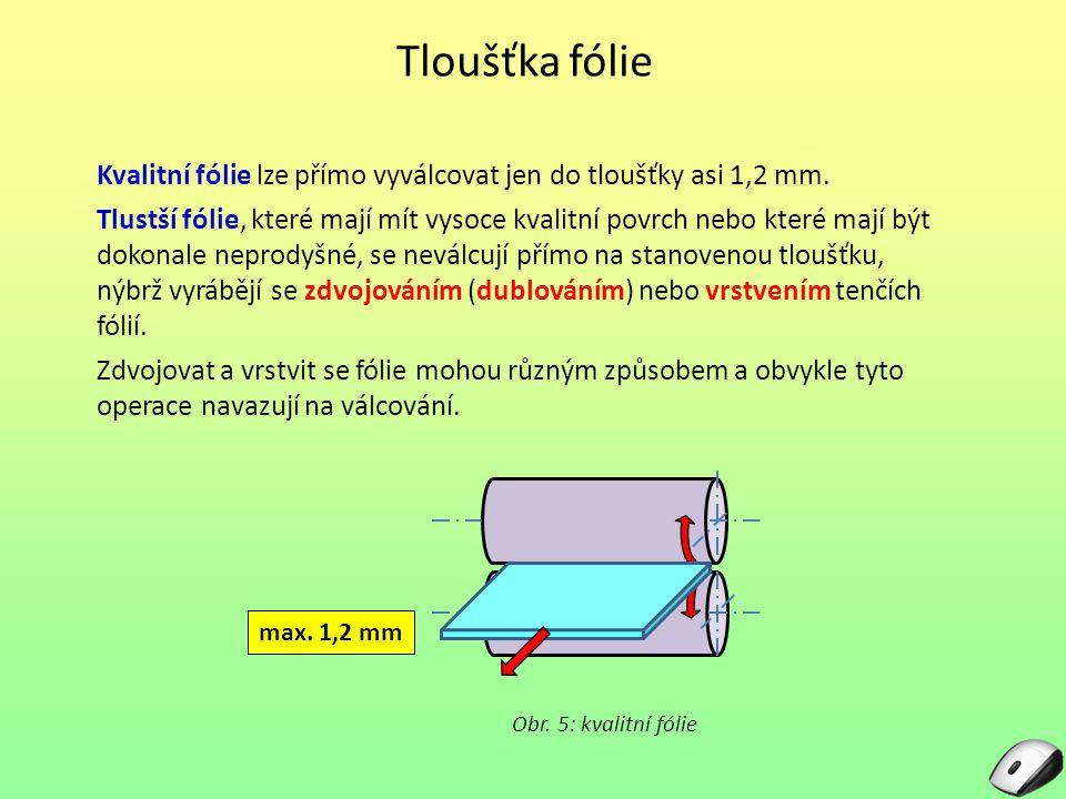 Tloušťka fólie Kvalitní fólie lze přímo vyválcovat jen do tloušťky asi 1,2 mm. Tlustší fólie, které mají mít vysoce kvalitní povrch nebo které mají bý