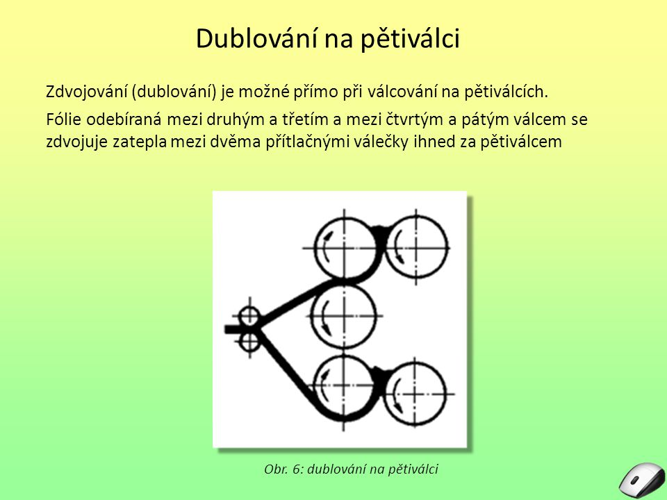 Dublování na pětiválci Zdvojování (dublování) je možné přímo při válcování na pětiválcích. Fólie odebíraná mezi druhým a třetím a mezi čtvrtým a pátým