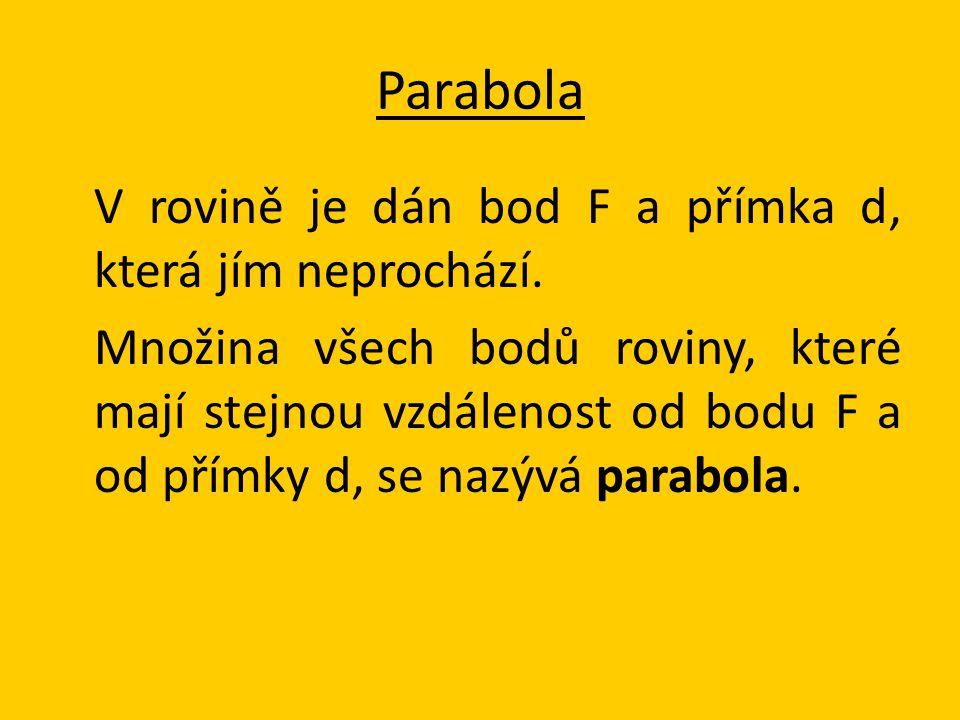 parametr 2p → 2p = 2 |Fd|;|VF|=|Vd|= ½p ohnisko F řídící přímka d osa o → přímka procházející ohniskem F kolmá k řídící přímce vrchol V → bod paraboly ležící na ose Parabola