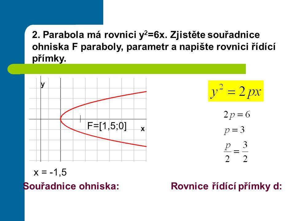 2.Parabola má rovnici y 2 =6x.