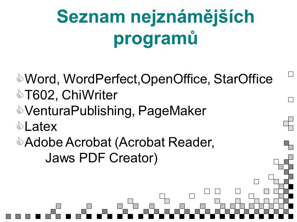 Seznam nejznámějších programů CWord, WordPerfect,OpenOffice, StarOffice CT602, ChiWriter CVenturaPublishing, PageMaker CLatex CAdobe Acrobat (Acrobat Reader, Jaws PDF Creator)