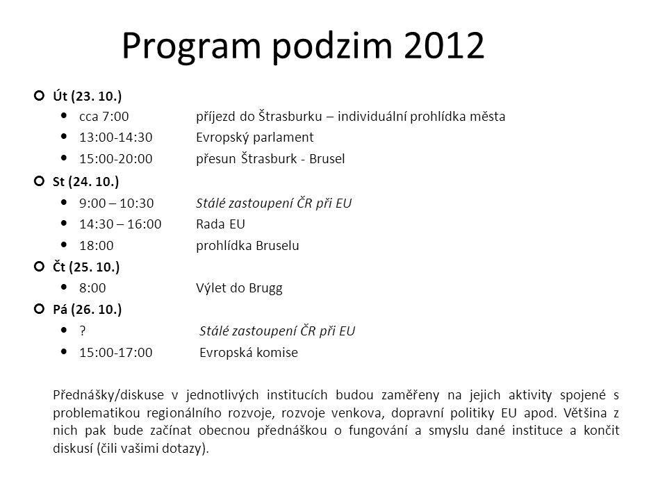 Program podzim 2012 Út (23.