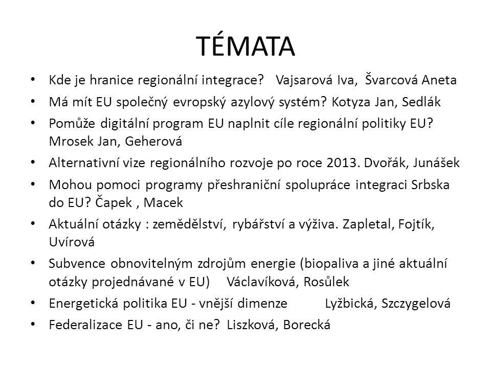 TÉMATA Kde je hranice regionální integrace?Vajsarová Iva, Švarcová Aneta Má mít EU společný evropský azylový systém.