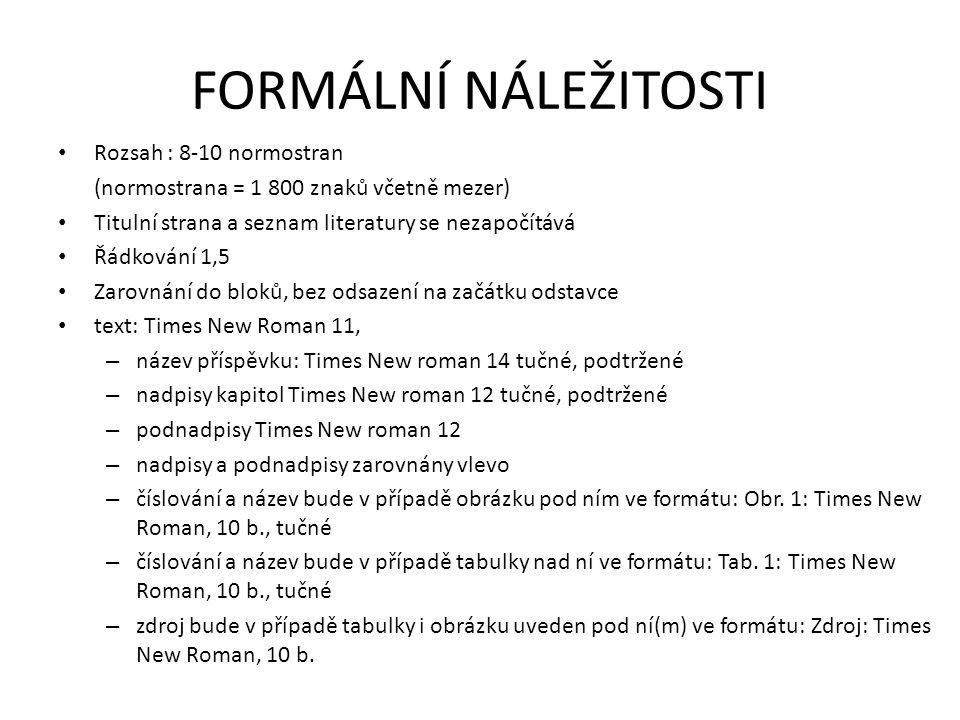 FORMÁLNÍ NÁLEŽITOSTI Rozsah : 8-10 normostran (normostrana = 1 800 znaků včetně mezer) Titulní strana a seznam literatury se nezapočítává Řádkování 1,5 Zarovnání do bloků, bez odsazení na začátku odstavce text: Times New Roman 11, – název příspěvku: Times New roman 14 tučné, podtržené – nadpisy kapitol Times New roman 12 tučné, podtržené – podnadpisy Times New roman 12 – nadpisy a podnadpisy zarovnány vlevo – číslování a název bude v případě obrázku pod ním ve formátu: Obr.