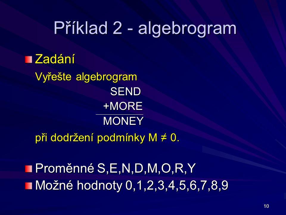 10 Příklad 2 - algebrogram Zadání Vyřešte algebrogram SEND +MORE +MORE MONEY MONEY při dodržení podmínky M ≠ 0. Proměnné S,E,N,D,M,O,R,Y Možné hodnoty