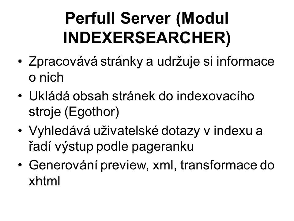 Perfull Server (Modul INDEXERSEARCHER) Zpracovává stránky a udržuje si informace o nich Ukládá obsah stránek do indexovacího stroje (Egothor) Vyhledává uživatelské dotazy v indexu a řadí výstup podle pageranku Generování preview, xml, transformace do xhtml