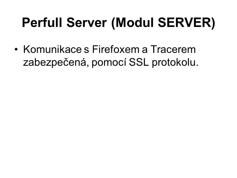 Perfull Server (Modul SERVER) Komunikace s Firefoxem a Tracerem zabezpečená, pomocí SSL protokolu.