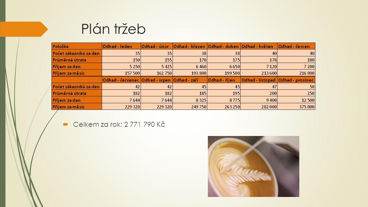 Plán tržeb  Celkem za rok: 2 771 790 Kč