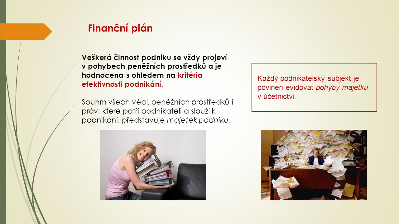 Finanční plán Veškerá činnost podniku se vždy projeví v pohybech peněžních prostředků a je hodnocena s ohledem na kritéria efektivnosti podnikání. Sou