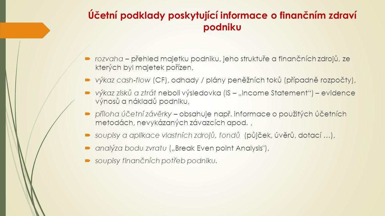 Účetní podklady poskytující informace o finančním zdraví podniku  rozvaha – přehled majetku podniku, jeho struktuře a finančních zdrojů, ze kterých b