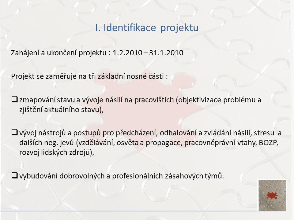 I. Identifikace projektu Zahájení a ukončení projektu : 1.2.2010 – 31.1.2010 Projekt se zaměřuje na tři základní nosné části :  zmapování stavu a výv
