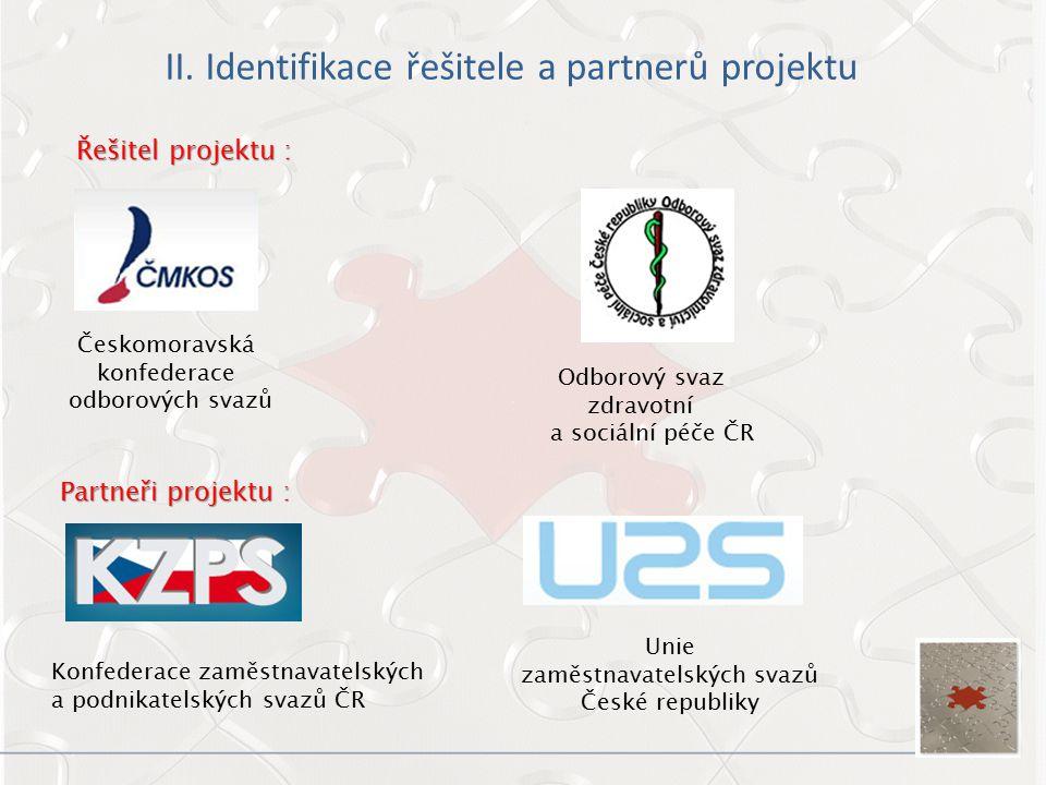 II. Identifikace řešitele a partnerů projektu Řešitel projektu : Partneři projektu : Českomoravská konfederace odborových svazů Konfederace zaměstnava