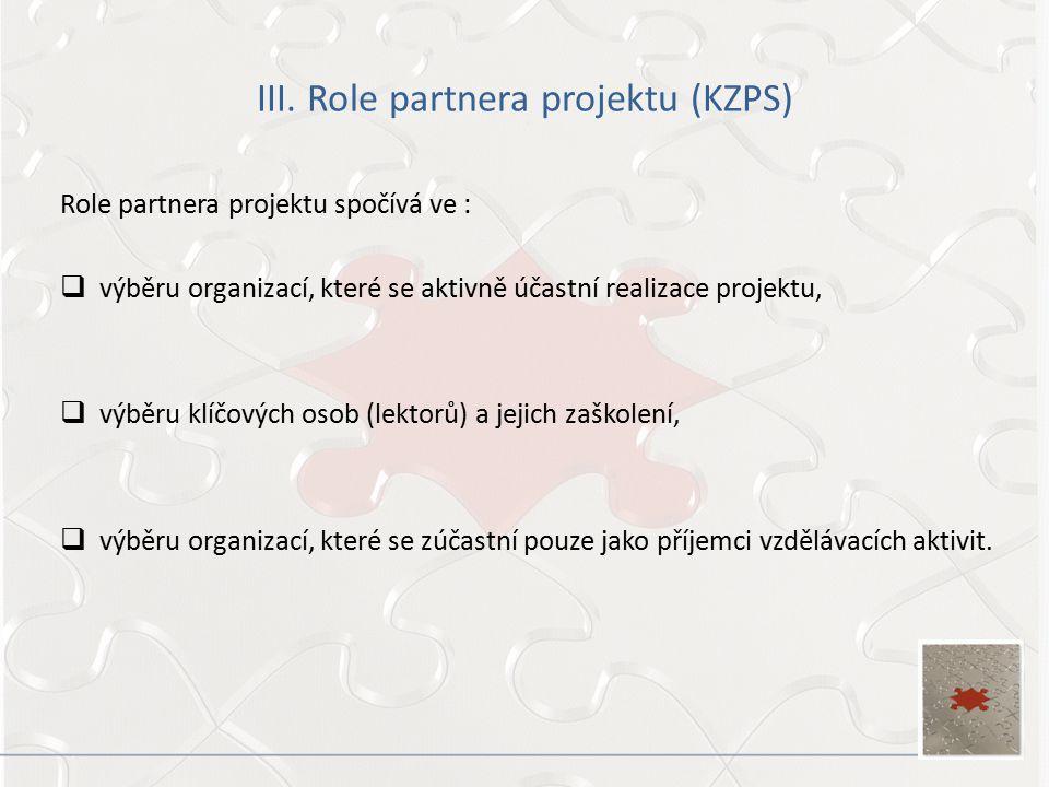 III. Role partnera projektu (KZPS) Role partnera projektu spočívá ve :  výběru organizací, které se aktivně účastní realizace projektu,  výběru klíč