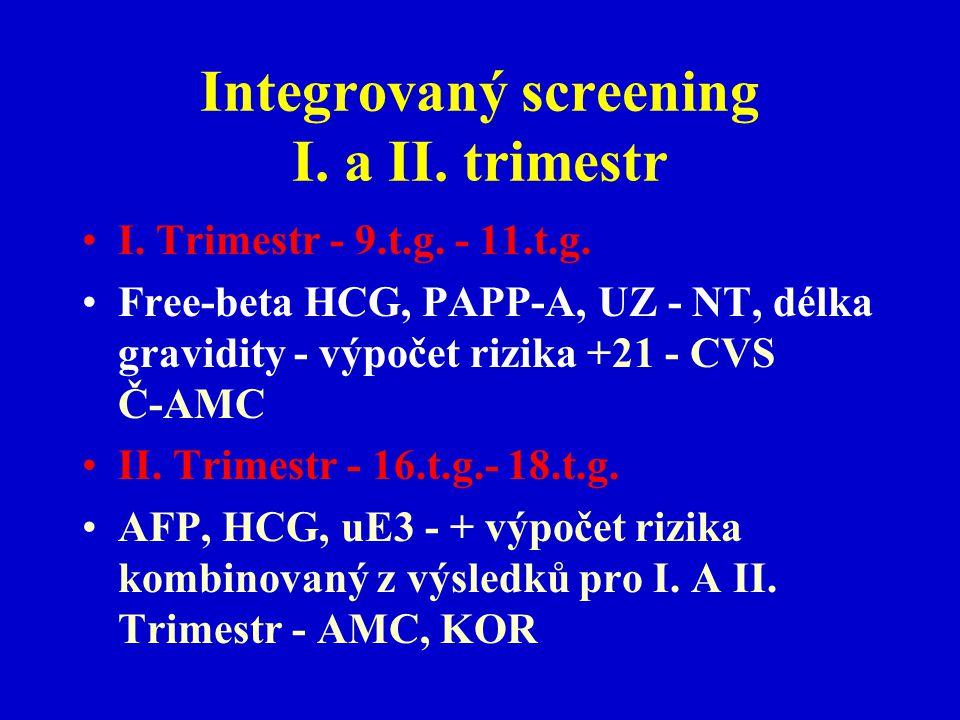 Integrovaný screening I. a II. trimestr I. Trimestr - 9.t.g. - 11.t.g. Free-beta HCG, PAPP-A, UZ - NT, délka gravidity - výpočet rizika +21 - CVS Č-AM