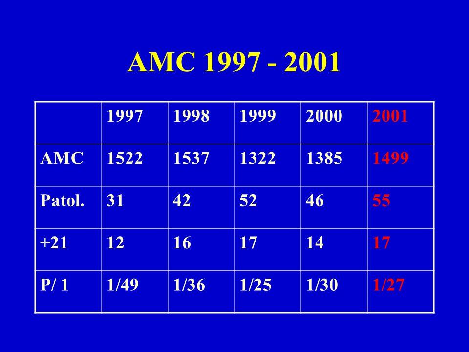 AMC 1997 - 2001 19971998199920002001 AMC15221537132213851499 Patol.3142524655 +211216171417 P/ 11/491/361/251/301/27