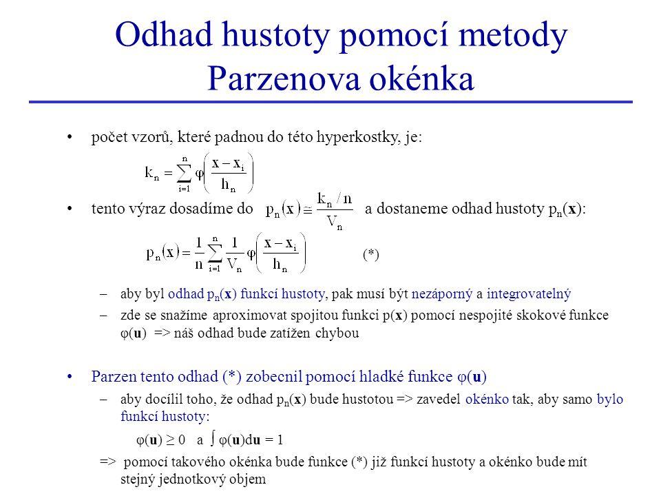 (*) počet vzorů, které padnou do této hyperkostky, je: tento výraz dosadíme do a dostaneme odhad hustoty p n (x): –aby byl odhad p n (x) funkcí hustot