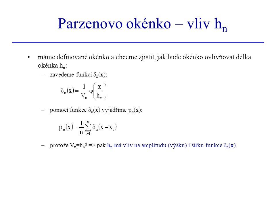 Parzenovo okénko – vliv h n máme definované okénko a chceme zjistit, jak bude okénko ovlivňovat délka okénka h n : –zavedeme funkci δ n (x): –pomocí f