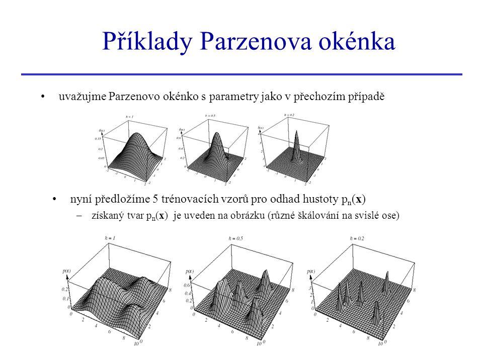 Příklady Parzenova okénka uvažujme Parzenovo okénko s parametry jako v přechozím případě nyní předložíme 5 trénovacích vzorů pro odhad hustoty p n (x)