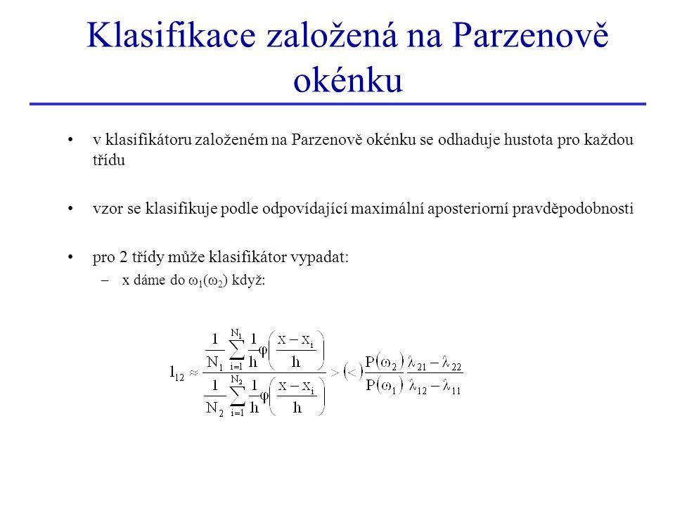 v klasifikátoru založeném na Parzenově okénku se odhaduje hustota pro každou třídu vzor se klasifikuje podle odpovídající maximální aposteriorní pravd