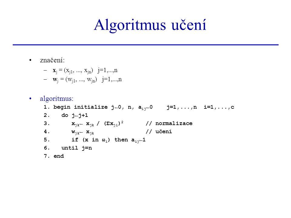 Algoritmus učení značení: –x j = (x j1,..., x jn ) j=1,...,n –w j = (w j1,..., w jn ) j=1,...,n algoritmus: 1. begin initialize j←0, n, a ij ←0 j=1,..