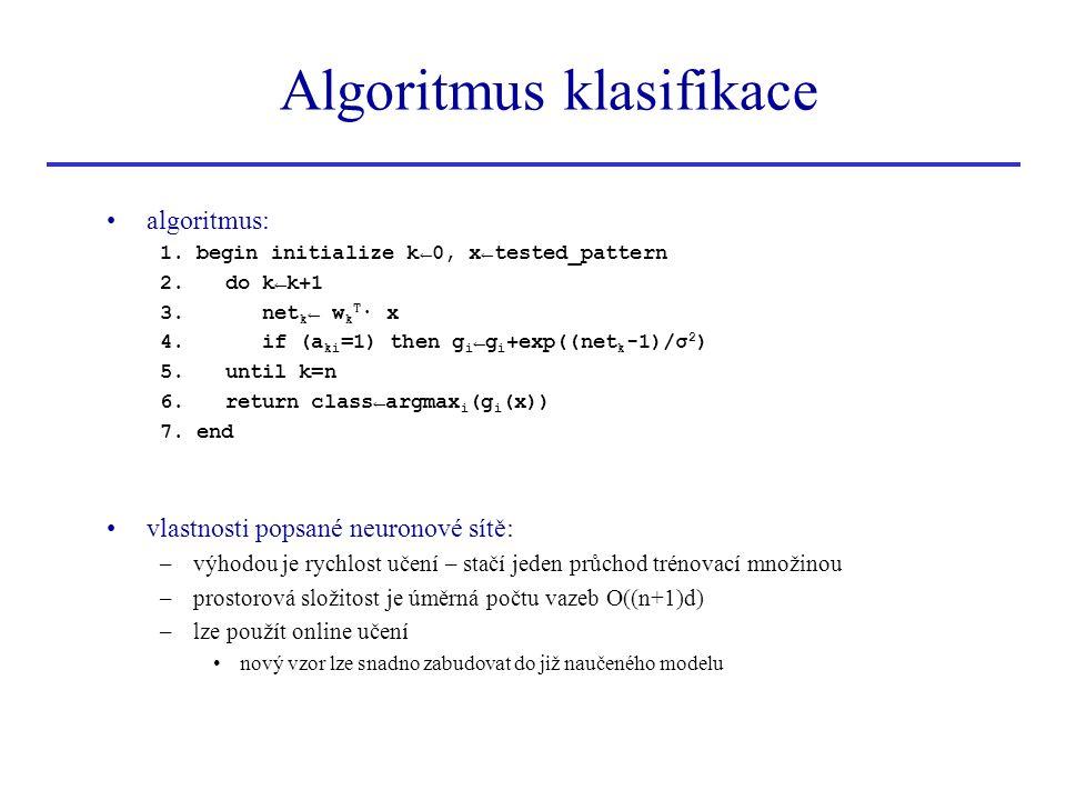 Algoritmus klasifikace algoritmus: 1. begin initialize k←0, x←tested_pattern 2. do k←k+1 3. net k ← w k T ∙ x 4. if (a ki =1) then g i ←g i +exp((net