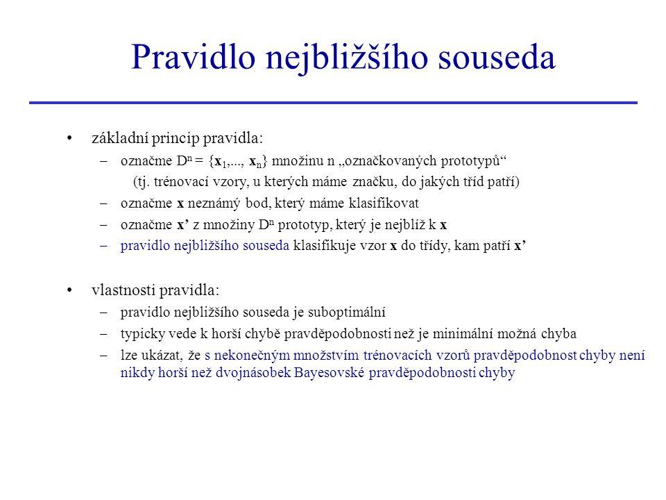 """Pravidlo nejbližšího souseda základní princip pravidla: –označme D n = {x 1,..., x n } množinu n """"označkovaných prototypů"""" (tj. trénovací vzory, u kte"""