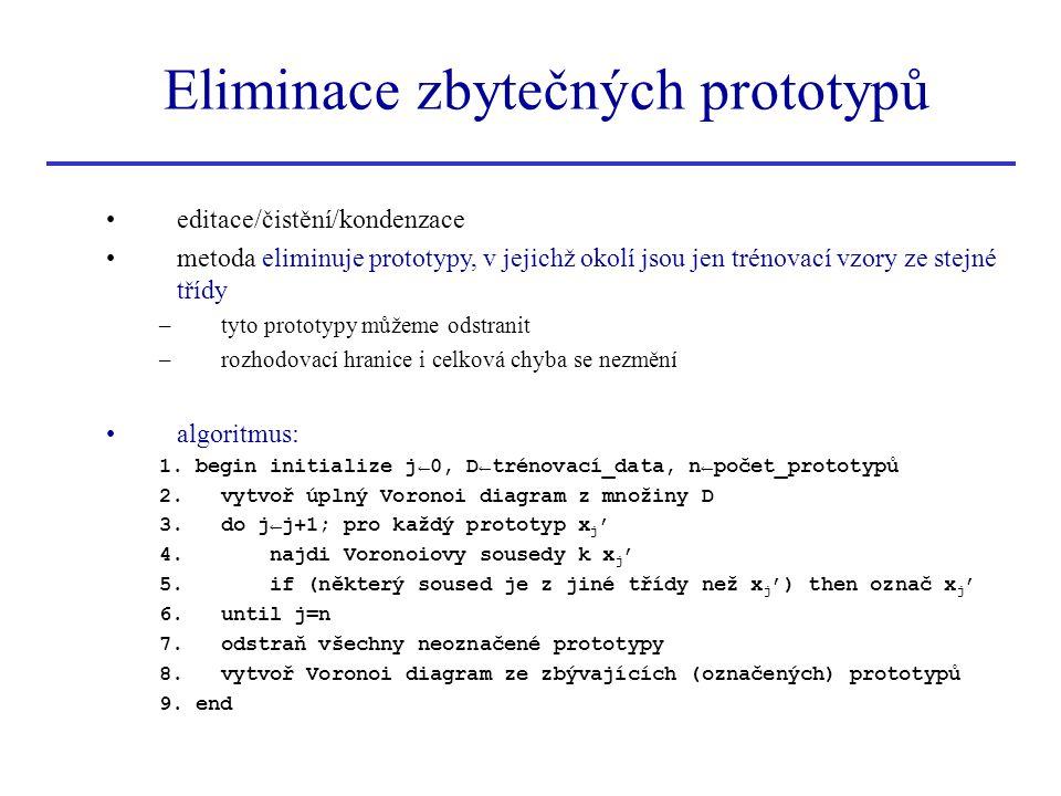 Eliminace zbytečných prototypů editace/čistění/kondenzace metoda eliminuje prototypy, v jejichž okolí jsou jen trénovací vzory ze stejné třídy –tyto p