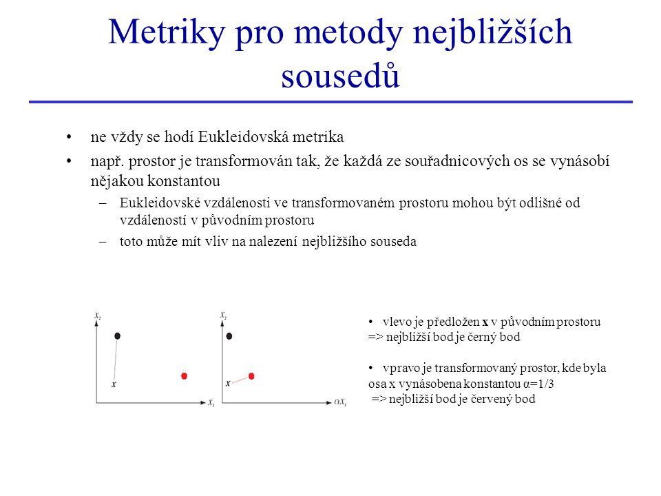 ne vždy se hodí Eukleidovská metrika např. prostor je transformován tak, že každá ze souřadnicových os se vynásobí nějakou konstantou –Eukleidovské vz