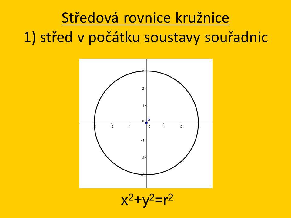 x 2 +y 2 =r 2 Středová rovnice kružnice 1) střed v počátku soustavy souřadnic