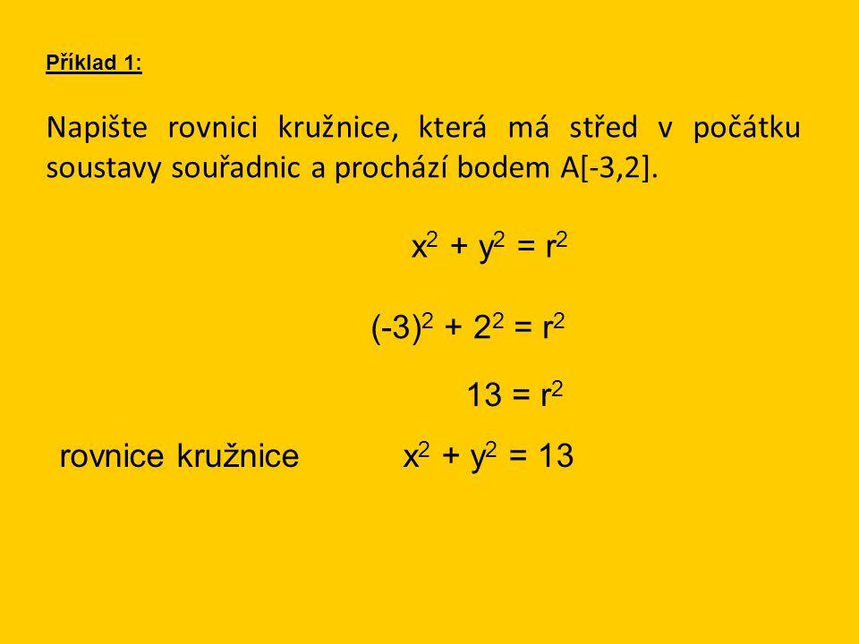 Napište rovnici kružnice, která má střed v počátku soustavy souřadnic a prochází bodem A[-3,2].
