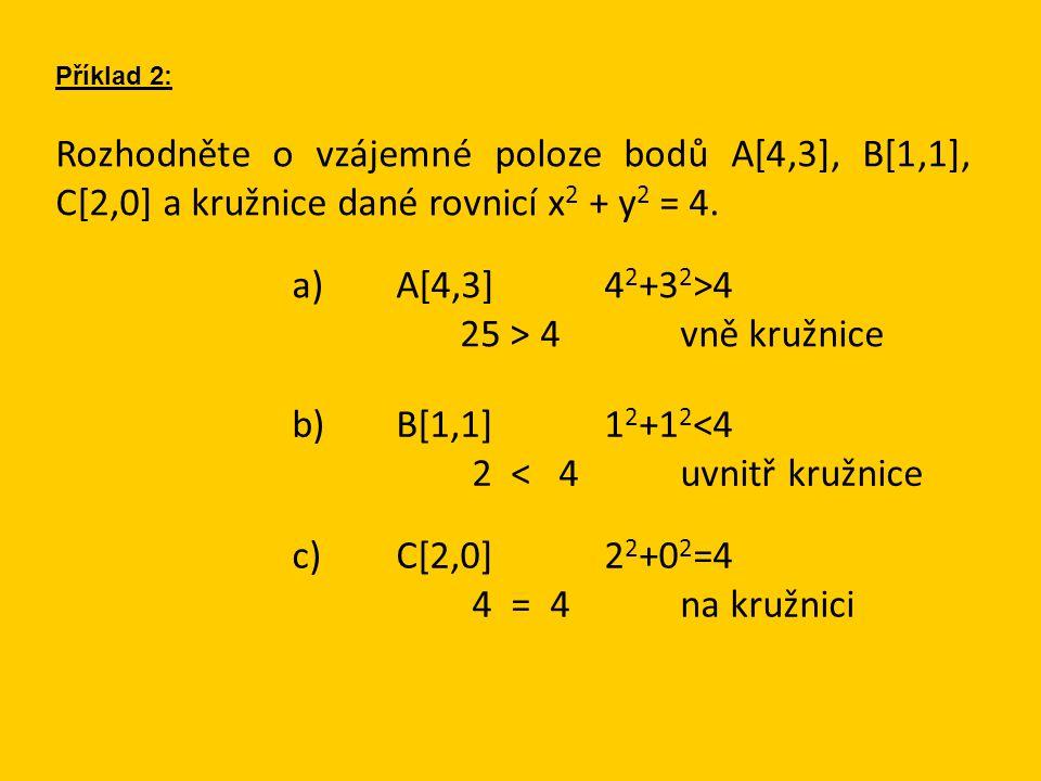 Příklady k procvičení: Určete rovnici kružnice, která má střed v počátku a prochází bodem A[-1,-5]: (-1) 2 +(-5) 2 =r 2 26=r 2 x 2 +y 2 =26