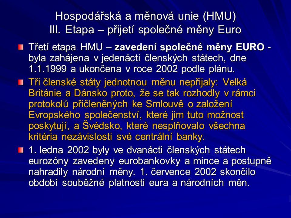 Hospodářská a měnová unie (HMU) III.