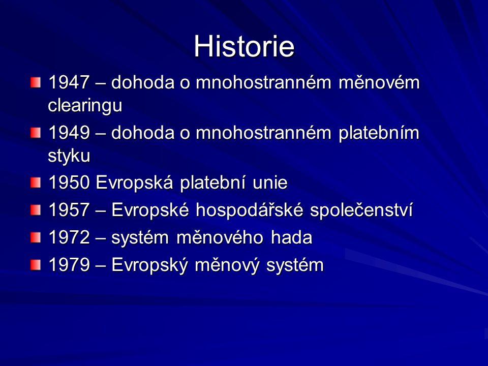 Historie 1947 – dohoda o mnohostranném měnovém clearingu 1949 – dohoda o mnohostranném platebním styku 1950 Evropská platební unie 1957 – Evropské hospodářské společenství 1972 – systém měnového hada 1979 – Evropský měnový systém